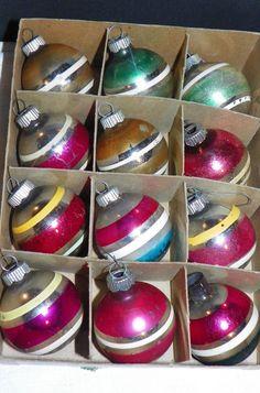 12 Vintage SHINY BRITE USA Mercury Glass Ornaments w/Box Stripea