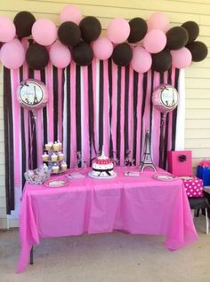 68 Ideas for birthday decorations balloons school colors Diva Birthday Parties, Paris Themed Birthday Party, Barbie Birthday Party, Birthday Party Decorations, Birthday Celebration, Spa Birthday, Wedding Decorations, Themed Parties, Pink Decorations