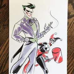 """Nathan Greno (@nathangreno) on Instagram: """"***SOLD*** today's doodle - DM me if you'd like to own a piece of my original #art :) #joker…"""" Joker - Harley Quinn - DC Comics"""