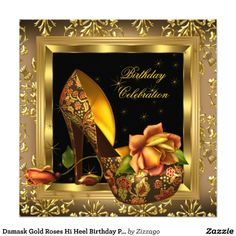 Damask Gold Roses Hi Heel Birthday Party 3