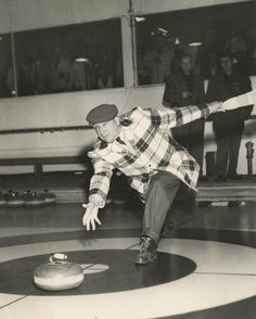 #throwbackthursday to bonspiel days! A photo from our archival collection, showing a man throwing a curling rock, c. 1950.  Sweep hard! #oshawa #oshawamuseum #vintage #tbt #curling #ouroshawa