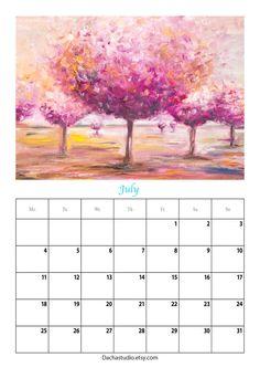 2016 printable calendar Art calendar Painting von DachaStudio