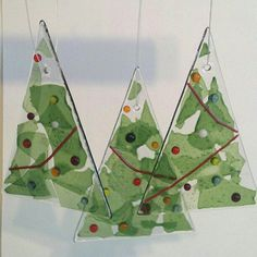 Fused Glass Christmas Tree Ornaments Set by GlasstasticCreations, $30.00