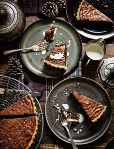 Boozy raisin, chocolate and walnut tart