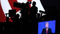 10/20/16 Will Donald Trump Launch A Cable News Network? : NPR  Republican presidential nominee Donald Trump is projected on a screen as he speaks Wednesday night in Las Vegas during the third presidential debate. The Trump campaign streamed the event live and produced post-debate coverage on its Facebook page. Ethan Miller/Getty Images