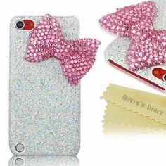 iPod Case,I Touch Case,Touch 5 Case - Mavis's Diary New Handmade Luxury Crystal Bow Bling White Case Cover Hard for iPod Touch 5 Generation with Soft Clean Cloth (Bow) Ipod Touch Cases, Ipod Cases, Cute Phone Cases, Ipod Touch 5th Generation, Cute Cases, Mavis, Bling, Bows, 3d