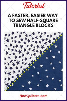 If you're tired of all the cutting, pressing, and trimming it takes to make half-square triangle quilt blocks, try this simple, time-saving method. #halfsquaretriangleblocks, #halfsquaretriangleblockshowtomake, #easyquiltblocks