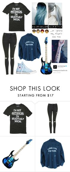 """Black and Blue"" by fan-of-5-seconds-of-summer ❤ liked on Polyvore featuring Topshop and Converse"