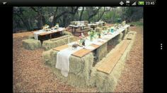 Tables from hay and boards Super cool!! What about being allergic though?