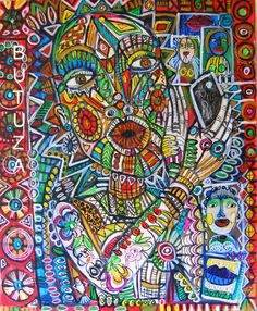 Swiss Artist Painter | Painted by Cathy Butuza #outsiderart #artbrut #art #artist #artistic #artwork #acrylic #painting #illustrationart #illustration #facesart