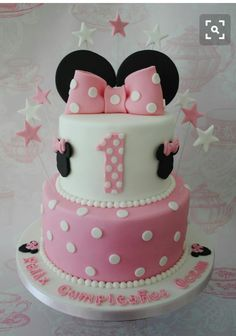 Pink & white Minnie mouse cake