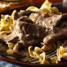 Easy Weeknight Beef Stroganoff     boys loved it and super easy...may use hamburger meat next time