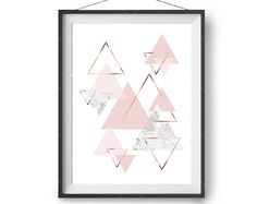Scandinavian Print, Blush Marble Rose Gold Print, Geometric Art, Pink Printable, Nursery Print, Abstract Art, Triangles Poster, Print Avenue