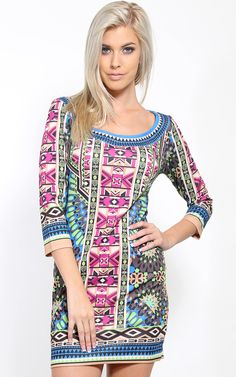 Tribal kaleidoscope dress that has a subtle tribal print. The patterns are so interesting. | MakeMeChic.com