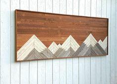 "Reclaimed Large Wood Wall Art or Queen Headboard, Mountains, Lath Art, 60 x 28"", Modern Wall Art, Mosaic, Geometric, Rustic Art, Decor"