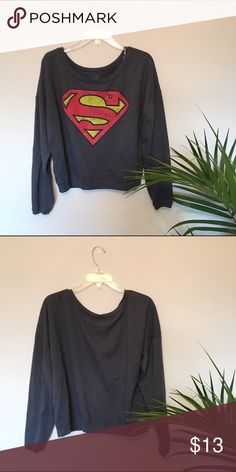 Superman Cropped Sweater Super cozy and cute cropped sweater. Wouldn't be cropped for XS-M. I couldn't remember where I got it from so I just put forever 21.                       🌿offers encouraged🌿 Forever 21 Sweaters Crew & Scoop Necks