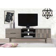 Grey Tessuto 70-inch Entertainment Center | Overstock.com Shopping - The Best Deals on Entertainment Centers