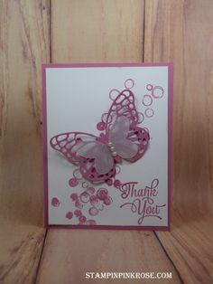 Stampin' Up! CAS Thank You card made with Playful Background stamp set. Designed by demo Pamela Sadler. See more cards at stampinpinkrose.com #stampinpinkrose