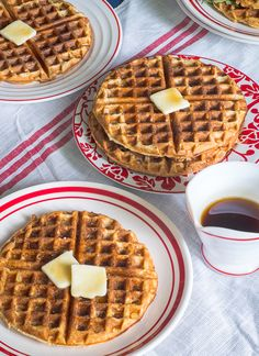 Cheddar Thyme Waffles with Bourbon Maple Syrup | Peaches Please