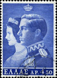 1964 Greece - Marriage of King Constantin II Old Posters, Greek Royalty, Greek Royal Family, Old Stamps, Postage Stamp Art, Greek History, Greek Art, Rare Coins, Vintage Travel Posters
