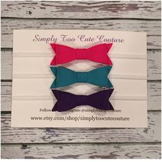 Dark Pink  Teal Purple Felt Bow Nylon by SimplyTooCuteCouture