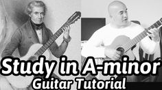 "Dionisio Aguado ""Study in A-minor"" Classical Guitar Tutorial Note-By-Not. Classical Guitar Lessons, A Minor, Guitar Tutorial, Drugs, Sheet Music, Study, Note, Play, Learning"