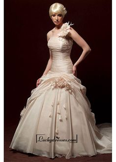 Beautiful Elegant Exquisite Organza A-line Wedding Dress In Great Handwork