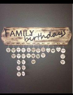 Family birthdays wall decor