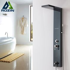 239.73$  Buy here - http://alixyo.worldwells.pw/go.php?t=32548049732 - Stainless Steel Body Massage Jets Shower Column Wall Mounted Rain Shower Panel Oil Rubbed Bronze Finish 239.73$