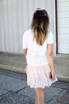Blush details in a cozy chic Brandy Melville tee via For All Things Lovely For All Things Lovely, Fancy Shoes, Chanel Sunglasses, Golden Goose, Brandy Melville, Ruffles, Lace Skirt, Blush, Short Sleeve Dresses