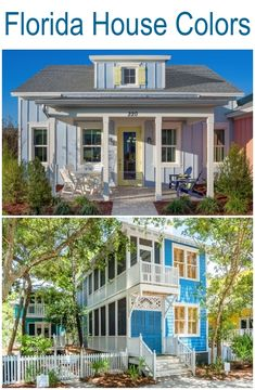 Take your inspiration for a house color from these gorgeous houses in Florida, painted in shades beachy blues. They feel happy and so inviting. Places you to to chill and getaway from it all. Featured on Completely Coastal, along with other blue painted houses.