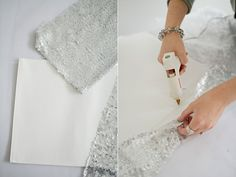 use a similar fabric but just make so-sew table circles to top each of the table rounds...
