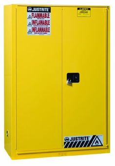 """Justrite Sure-Grip EX 894580 Safety Cabinet for Flammable Liquids, B-Fold, Self Close, 45 gallon, 44""""Height, 43""""Width, 18""""Depth, Steel, Yellow by Justrite. $1248.06. Sure-Grip EX includes New Exclusive Features to make a workplace Extra safe, Extra Secure. U-Loc Padlockable Handle, Haz-Alert Reflective Labeling, SpillSlope Safety Shelves. Safety Can Storage; Factory Mutual (FM) Approved; Meets NFPA, OSHA, and Uniform Fire Code requirements; 1 Adjustable Shelves; Tw..."""