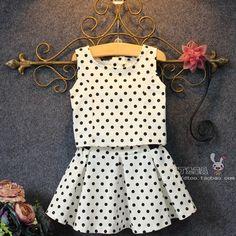 Crianças vestido Branco Polk Dot Set Set terno 2-7age
