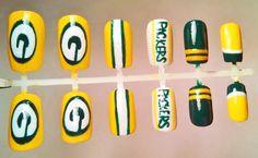 Green Bay Packers Fake Nail Set by NailTreats on Etsy, $14.00 #football #nails Football Nail Art, Flag Football, Get Nails, Hair And Nails, Packer Nails, Mani Pedi, Manicure, Nail Tattoo, Pretty Nail Designs