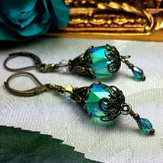 Luscious Peacock Green Cathedral Crystals Wrapped in Layers of Antiqued Bronze Filigree, Victorian Dangle Drops to Dazzle the One You Love!