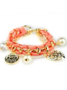 Orange Pendant Winding Multilayer Bracelet