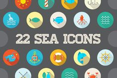Awesome 22 Flat Vector Sea Icons by Ckybe's Corner on Creative Market