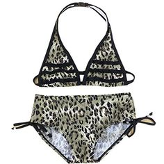 Wengift Kids Big Girls Leopard Pattern Halter Swimsuit Two Piece Bikini Set -- Read more reviews of the product by visiting the link on the image.