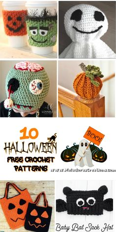 10 Halloween Decorations – Free Crochet Pattern link Blast ) With all this time indoors I've been thinking about getting ahead on making my holiday decorations. #crochetpattern #crochethalloween#crochetghostpattern #crochetzombie #crochettreatbags #trickortreatcrochet #boocrochet Knitting Designs, Crochet Designs, Free Crochet, Crochet Hats, Easy Crochet, Pattern Design, Free Pattern, Crochet Projects, Crochet Tutorials