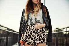 shorts animal print leopard