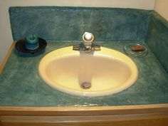 Bathroom sink resurfacing project by SW Green Building Products. Concrete Counter, Concrete Floors, Concrete Resurfacing, Portland Cement, Building Products, Shower Surround, Green Building, Home Projects, Recycling