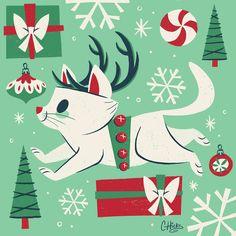 Random Christmas cat illustrations