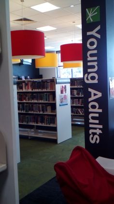 Young Adult signage at Ku-ring-gai public library in Sydney. Nice bright lights.