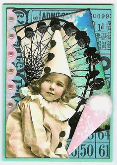 ATC - Vintage Carnival Pierrot ~Traded~