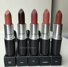 MAC lipsticks Velvet Teddy, Media, Twig, Patisserie, Taupe