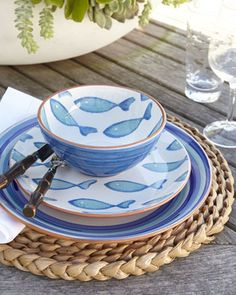 """""""Blue Fish"""" Dinnerware at Horchow."""