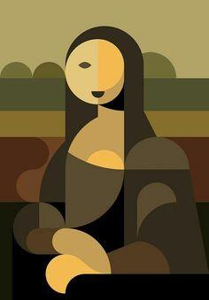 """Mona Lisa"" - Dennis Bennett, 2011 {modern art female seated woman digital graphic i. Arte Pop, Graphic Illustration, Graphic Art, Geometric Art, Geometric Painting, Painting Abstract, Acrylic Paintings, Art Plastique, Art History"