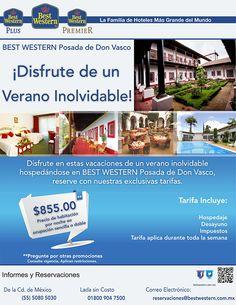 Best Western Posada de Don Vasco te ofrece una exclusiva tarifa: $855.00 (Precio de habitación por noche en ocupación sencilla o doble)