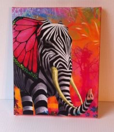 "Beautiful mix of a butterfly, elephant & zebra Canvas Wall Art Vintage style print, 8x10"" Handmade with love by local crafters http://www.shopserendipitystyles.com/store/c1/Featured_Products.html#TheSassyWay"